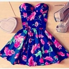 Adorable Floral Summer Dress Outfit! The Fashion: Gorgeous dress black fur Summer outfits Teen fashion Cute Dress! Clothes Casual Outift for...