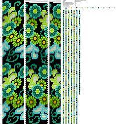 purple/green colorway (see also blue/green) Crochet Bracelet Pattern, Crochet Beaded Bracelets, Beaded Necklace Patterns, Bead Crochet Patterns, Seed Bead Patterns, Bead Crochet Rope, Beaded Crafts, Beading Patterns, Seed Bead Flowers