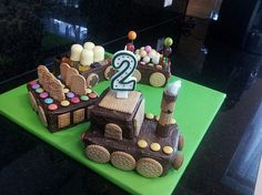 Schneller Zug – Kuchen Fast train – cake, a very nice recipe in the category cake. Party Finger Foods, Let Them Eat Cake, Chocolate, Gingerbread Cookies, Kids Meals, Food And Drink, Birthday Cake, Snacks, Baking
