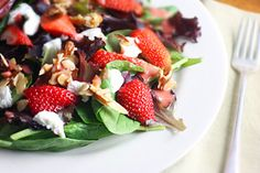 Strawberry Salad with Candied Almonds and Strawberry Balsamic Vinaigrette