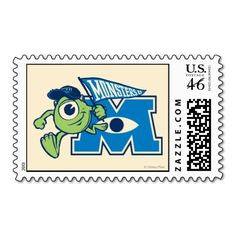 Shop Mike with Monsters U Flag Postage created by disneypixarmonsters. Monster University, Monsters Inc, 2nd Birthday Parties, Postage Stamps, Sorority, Smurfs, Flag, Teaching, Party Ideas