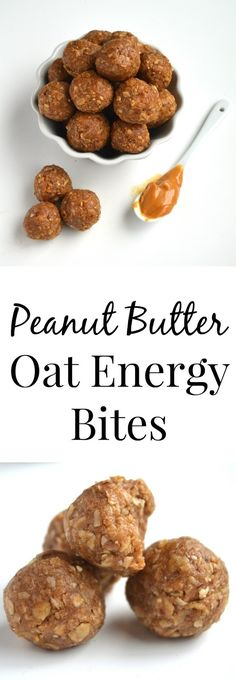 4 Ingredient Peanut Butter Energy Bites- super easy to make with ingredients…