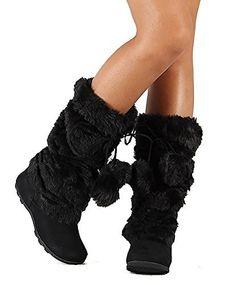 Super Furry Black Mukluks Pom-pom Snow Winter Flat Boots, http://