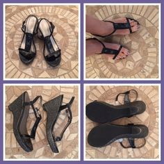 Gorgeous Madeline Wedge Sandals-Wasabi Beautiful black wedge sandals. Have three black/pearl marble tiles on front of each shoe. Elastic strap to fit low on ankle in black leather. Heel has a basket weave look in dark gray/black. Very minimal wear. Model is called Wasabi. Madeline Shoes Wedges
