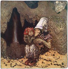 """Illustration by John Bauer for a tale by Vilhälm Nordin in """"Bland Tomtar och Troll"""" (1912 ed)"""
