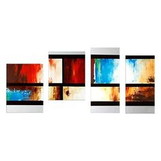 Designart Canada OL154 Abstract Squared Off Colorful Oil Painting (4 Piece)