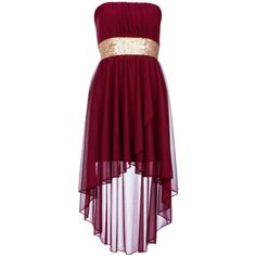 Wine Sequin Waist Mixi Dress (35 CAD) found on Polyvore featuring women's fashion, dresses, vestidos, robe, red dresses, red chiffon cocktail dress, sequined dress, floral print cocktail dress and floral print chiffon dress