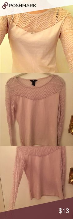 Blush Lace Top NWOT, H&M 2014. Blush pink. No snags or marks. V sexy neckline exposure and fitted just right in the bodice and sleeves. Ideal on size 2 and 4. H&M Tops