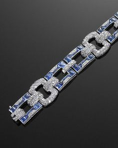 French Cut Calibre Sapphire Diamond Deco Bracelet | Fred Leighton
