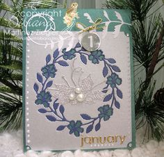 handmade card ... Jan 1st wreath front ... embedded embossing ... delightful use of Memory Box die ...