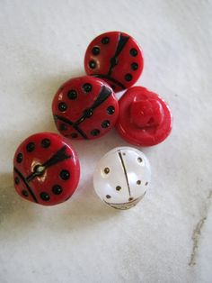 Vintage Lady Bird Glass Buttons red and white by janissupplies, $12.50