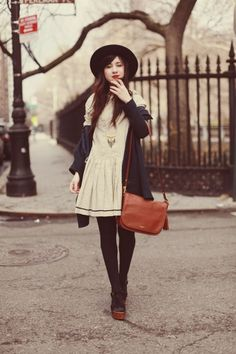 cream fit and flared dress + winter hat y&i clothing boutique | shopyandi.com