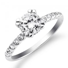 Designed Double-Prong Solitaire Engagement Ring in Sterling Silver