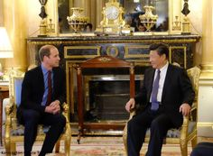 """Earlier this evening, Prince William called on the Mr Xi at Buckingham Palace where they discussed their shared interest in combating the illegal wildlife trade. Kensington Palace said William believes """"China can provide vital leadership to help prevent the extinction of some of the planet's most iconic endangered species""""."""