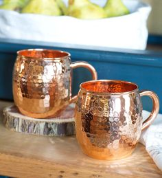 Hand Hammered Solid Copper Mugs, Set of 2 - great for serving the Moscow Mule cocktail Solid Copper Mugs, Copper Cups, Hammered Copper, Copper Utensils, Copper Moscow Mule Mugs, Moscow Mule Cups, Copper Kitchen, Kitchen Tools, Mugs Set