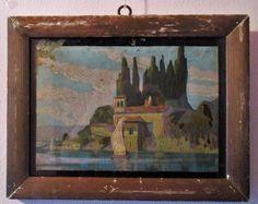 Vecchio quadro. Tempera su cartone. Lago di Garda