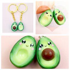 BFF Avocado Charm Keychain Polymer Clay Miniature Food Jewelry Handmade by Sweet Clay Creations