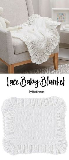 Lace Baby Blanket free crochet pattern in Bunches of Hugs yarn.