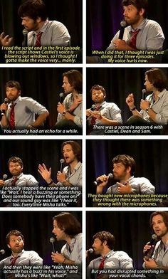 Supernatural - Jensen and Misha are going to have permanent damage from talking so deep.