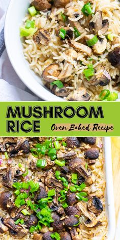 This hearty and flavorful rice side dish or meatless main dish is pure comfort food! Serve with your favorite protein, use any mushroom you love and enjoy every bite! Affordable, delicious and easy to prep! Rice Recipes, Baking Recipes, Easy Recipes, Easy Meals, Healthy Recipes, Rice Side Dishes, Main Dishes, Mushroom Rice, Dinner Is Served