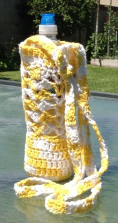 Crocheted water bottle carrier...with pattern, in knittingparadise.com under user submitted patterns and tutorials...membership is free.