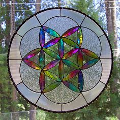 Dichroic Stained Glass Panel disc Fruit of Life by DichroGlassman, $495.00