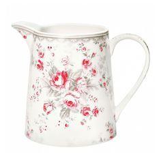 Stoneware half litre jug in Sophie vintage design ~ by GreenGate, Denmark.  Dishwasher safe, but hand washing recommended.  Capacity = 0.5 litre.