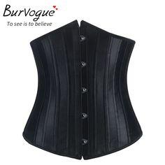 Burvogue Woman Waist Cincher Corselet Body Shaper Sexy Waist Control underbust Corsets Bustiers Black Satin Steel Bone Corset