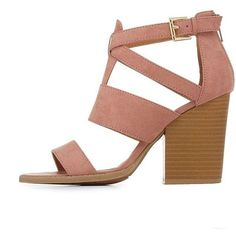 dc00d5ec4f5 Charlotte Russe Strappy Chunky Heel Sandals (780 UAH) ❤ liked on Polyvore  featuring shoes