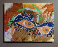 """Angela Oaks, hermes trismegistus, 20"""" x 16"""", mixed media on canvas."""