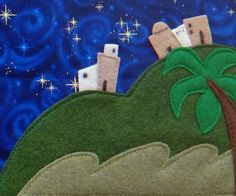 The Nativity Story - love the starry night fabric for the background.  Use as one side of a full spread background.  Other side has stable.  Use finger puppets for characters.