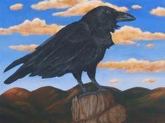 "Sangre de Cristo Raven, oil on panel, 12"" x16"""