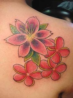 Colorful Hawaiian Flowers Tattoo On Right Back Shoulder