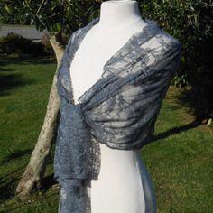 Grande etole écharpe foulard femme dentelle gris agréable mariage