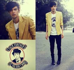 Reverbcity Pete Doherty T Shirt - When The Light Go Out - Vini Uehara Only Fashion, I Love Fashion, Urban Fashion, Mens Fashion, Fashion Design, Fashion Trends, Yellow Blazer, Colored Blazer, Mens Attire