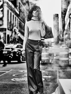Iana Godnia wears lacquered leather, high-waist trousers and gorgeous gowns for TELVA Magazine December 2015 issue
