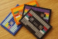 Love this Hama bead cassette tape idea. Perler Bead Designs, Hama Beads Design, Diy Perler Beads, Perler Bead Art, Pearler Beads, Pearler Bead Patterns, Perler Patterns, 8 Bits, Iron Beads