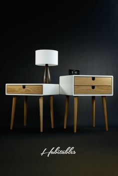 White nightstand / Bedside Table, Scandinavian Mid-Century Modern Retro Style with 1 or 2 drawers and legs made of oak wood by Habitables on Etsy https://www.etsy.com/listing/162654060/white-nightstand-bedside-table