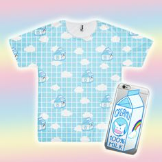 Creamu is a character I designed in Middle School! He loves to play dress up and hangs out with a girl gang of sheep called the Fuwa Fuwa Crew! #milk #aesthetic #kawaii #kawaiifashion #cow #grid #clouds #phonecase #iphone #rainbow