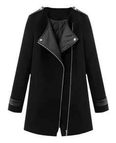Md-long Leather-panelled Padded Woolen Coat | BlackFive