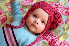 ear flap hat for baby. Possibly the prettiest little hat I've ever seen!