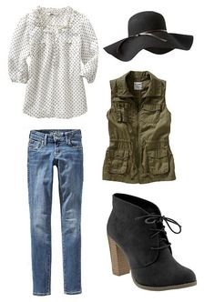 Easy fall outfitfor a casualstyle with a polka dot blouse, utility vest, felt hat, skinny jeans and suede booties. All items Old Navy.