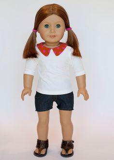 American Girl doll Peter Pan collared tee by EverydayDollwear, $10.00