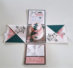 Here I show an explosion box with a wedding cake in which you can spend your money . Here I show an explosion box with a wedding cake in which you can hide your money gift … Love Scrapbook, Wedding Scrapbook, Diy Gift Box, Diy Gifts, Diy Birthday, Birthday Cards, Birthday Ideas, Wedding Cards, Wedding Gifts