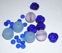Assorted beads cobalt blue light blue light purple 26 by lowe40