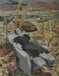 How to relax underwater.  Limited edition print of an original collage by Vivienne Strauss on etsy.