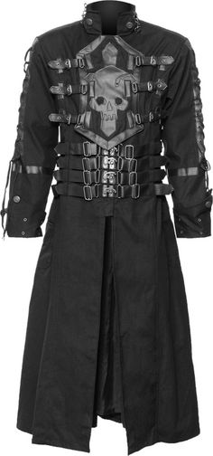 Black cotton coat for men, with skull and cross application chest ornament and unique clasp-closure details with straps. A unique clothing design made by Raven SDL.