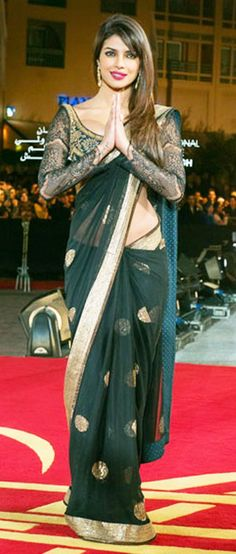 Pryianka Chopra arrives to the awrard ceremony of the International Marrakech Film Festival. (GETTY/GALLO)Pryianka Chopra attends the ceremony awrard of the International Marrakech Film Festival in Marrakech, Morocco. Bollywood Designer Sarees, Bollywood Saree, Bollywood Fashion, Indian Bollywood Actress, Indian Film Actress, Indian Actresses, Indian Attire, Indian Outfits, Indian Wear