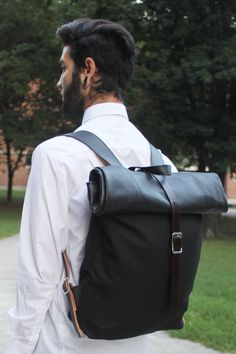 Black Leather and Japanese Canvas Rolltop Rucksack by Hedj on Etsy