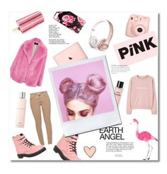 """""""Pale Pink"""" by constanssia-s on Polyvore featuring T.U.K., Fujifilm, HUGO, Ecologica, Barbour, Kate Spade, Beats by Dr. Dre, MANGO and Lancôme"""